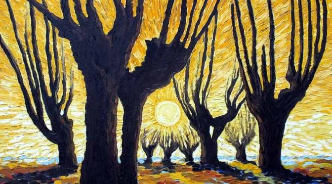 36 Wierzby na tle żółtego nieba